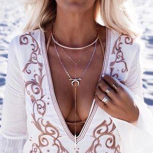 Bohemian goddess layered necklace set